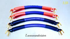 NEW VAN DAMME Professional Blue Series Bi-Wire SPEAKER JUMPER CABLES x 4
