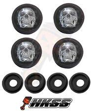 4 Black Custom License Plate Frame Tag Screw Cap Covers - CHROME SKULL BW HR0
