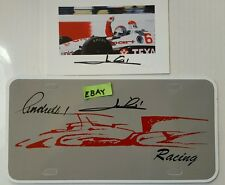 Mario Andretti Thanks for the Memories Card and License Plate  AUTO