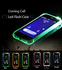 LED Flash Shock proof Armor TPU soft Case Clear Incoming Call Cover For iPhone X