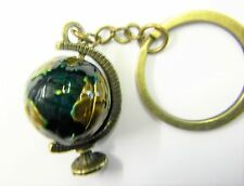 Enamel Globe Keyring Antique Bronze Style Key Chain Gift Boxed BRAND NEW