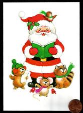 Vintage Adorable Santa Claus Mouse Raccoon Bird Singing - Christmas Card Unused