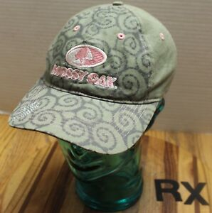 WOMENS MOSSY OAK HAT GREEN/PINK W/A LITTLE BLING ADJUSTABLE VERY GOOD COND RX