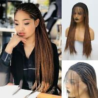 Black Long Braided Wigs for Black Women with Baby Hair Synthetic Lace Front Wigs