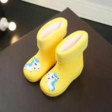 Rain Boots Rubber PVC Warm Children Waterproof Shoes Cartoon Unicorn Removable