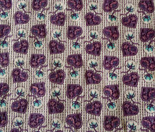 Antique Small Scale Floral Heart Paisley Cotton Fabric ~Purple Blue~ dolls quilt