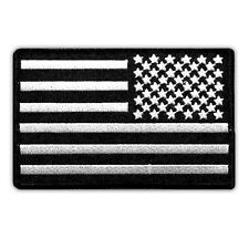 VEGASBEE® USA FLAG US REVERSED EMBROIDERED PATCH SUBDUED BLACK-WHITE IRON-ON