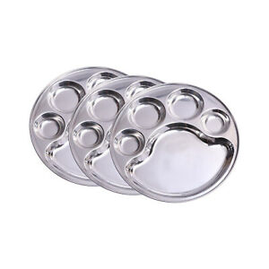 Stainless Steel Lunch/Dinner Plate/Bhojan Thali 5 in 1 Compartments Pack of 3 US