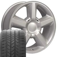 20x8.5 Wheels Tires Fit Yukon Tahoe Chevy LTZ Silver Rim GY LS2 5308 W1X