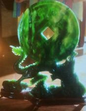 Large Spinach Jade Dragon and money Sculpture w Stand vintage
