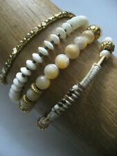 Chan Luu Bracelet Set of 4 - Natural Mother of Pearl Shell Tiny Gold Nuggets NWT