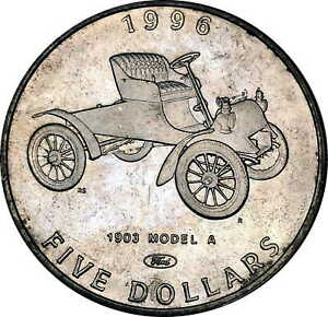 Vintage Coin Marshall Islands 1996 5 Dollars 1903 Ford Model A Classic KM# 311
