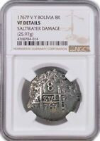 1767 P V Y Bolivia 8 Reales Silver Charles III NGC VF Details Saltwater Damage