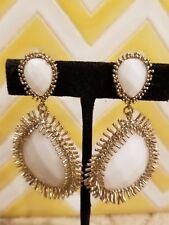 Kendra Scott Rare  White Pearl Mercer Statement Vintage Gold Earrings. HTF