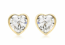 9ct Yellow Gold CZ Heart Stud Earrings Solid Gold Box Gift Jewellery
