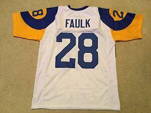 UNSIGNED CUSTOM Sewn Stitched Marshall Faulk White Jersey - M, L, XL, 2XL