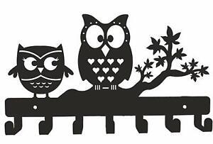 Owl Duo Metal Key Holder Wall Mounted Hooks Wall Décor Keys Holder