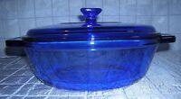 ANCHOR OVENWARE COBALT BLUE COVERED 1.5 QT CASSEROLE (B15)