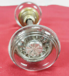 Antique Victorian Glass Door Knob Set With Connector Mercury Glass Rosettes