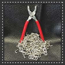 "Hog Ring Pliers & 200 Stainless Steel Hog Rings 3/4"" Seat Covers Fences Netting"