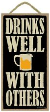 Novelty-Fun Wood Sign-WINE Plaque--Drinks Well with Others