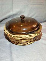 Vintage PYREX Amber Glass 024 Casserole Bowl with Lid / Basket