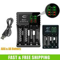 4 Slot Intelligent Fast LED Charger For AAA AA Ni-Cd Ni-MH Rechargeable Battery