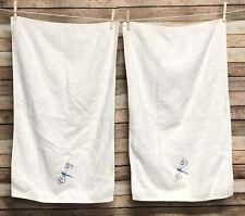 Two Pottery Barn Kids Hand Towels Dragonfly White Terry Cloth Old Label