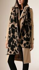 NEW BURBERRY Animal Print Wool Cashmere Blend Jacquard Blanket Scarf, 200x30cm
