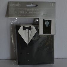Details Accessories Wedding Favor Boxes Groom Tuxedo Suit Black White Pkg of 10