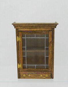 Vintage Wooden Leaded Glass Wall Cabinet Artisan Dollhouse Miniature 1:12