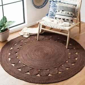 Jute Rug Braided style Brown Reversible 6x6 Feet Rustic look Area Rug Carpet