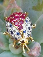Estate Vintage 18k Yellow Gold Paved Diamond Ruby Sapphire Ladybug Brooch Pin