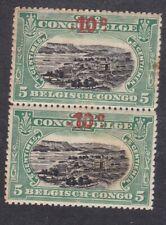 Belgian Congo 1922 - 10c  on 5c Black Green Pair - SG102 - Mint Hinged (E3G)