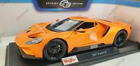 MAISTO 1:18 Scale Diecast Model Car - 2017 Ford GT in Metallic Orange