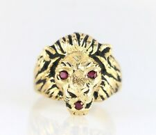 Style Crest 14K Yellow Gold 3 Red Round Ruby Lion Face Head Cocktail Ring