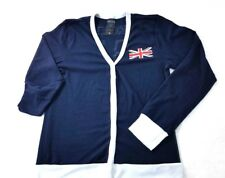 DR WHO Her Universe TARDIS  Union Jack Navy w White Trim Cardigan Sweater Sz XL