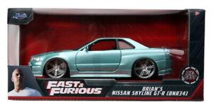 Brian's 2000 Nissan Skyline GT-R RHD Turquoise Fast & Furious 1:24 (Jada 32608)