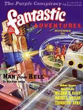 Portada de la revista vintage fantásticas aventuras Sci Fi nave espacial 1939 cartel CC3310