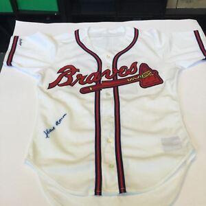 Beautiful Hank Aaron Signed Authentic Atlanta Braves Game Model Jersey JSA COA