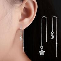 Muye 925 Sterling Silver Star Moon Tassel Earrings Ear Line For Women Jewelry