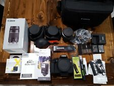 Canon EOS Rebel T7 DSLR with carrying bag, lenses and accessories