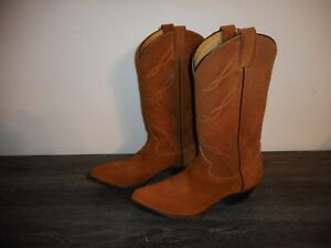 Tony Lama Tan Suede Western Boots, Women Size 8 1/2 D, Style 6987, Pointed Toe