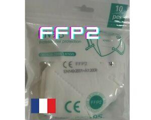 Masque Protection Adulte 5 Couches Filtres Certification 1 pièce = Pack de 10