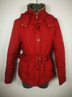 WOMENS TU CASUAL RED BELTED PADDED PARKA PARKER HOODED COAT JACKET SIZE UK 8