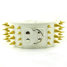 6 Color Leather Dog Collars Spiked&Studded leather Dog For Pitbull Bully