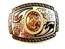 Argento & Color Oro Fibbia Cintura Made in USA 10.2cm x 7.6cm