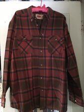 Field N Forest Men Heavy Flannel Shirt 2XL Plaid Long Sleeve orange brown Blue