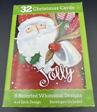 32 Whimsical Christmas Cards w/ Envelopes - 8 Different Designs in One Box - New