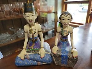 Balinese Wedding Couple Hand Painted Asian Wood Crafts